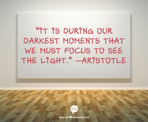 Aristotle, Focus, darkness, light