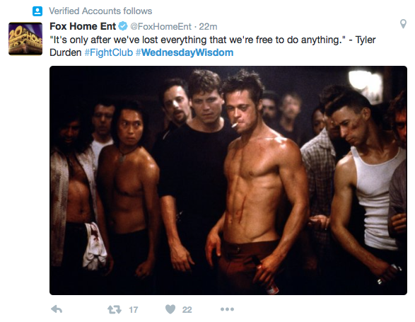 Fox Home Entertainment, Twitter, Fight Club, Brad Pitt, ParkerMather